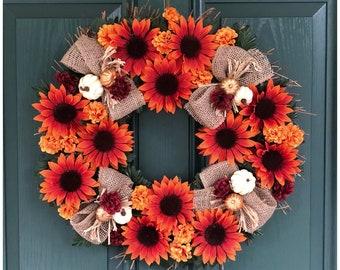 Sunflower Wreath. Front Door Wreath. Fall Decor. Sunflowers. Mums and Pumpkins. Fall Wall Decor. Thanksgiving Door Wreath. Autumn Door Decor