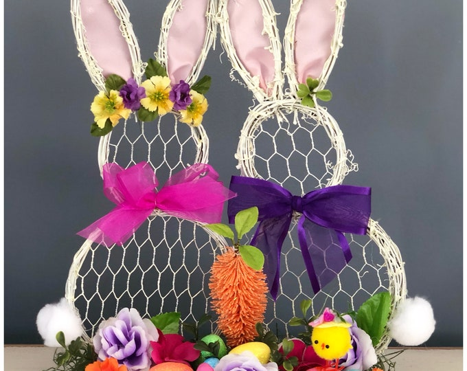 Unique Bunny Centerpiece. Grapevine Bunny Rabbit. Chicken Wire Bunny Forms. Bunny Couple Sculpture. Easter Table Decor spring Table Decor
