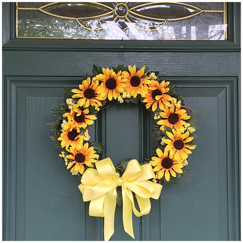 Sunflower Door Wreath. Floral Wreath. Sunflower Decor. Front Door ...