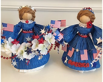Blue Patriotic Figurines. Patriotic Dolls. Flag Day Decor. Independence Day. 4th of July Decor. Memorial Day Decor. Red white and Blue. Flag