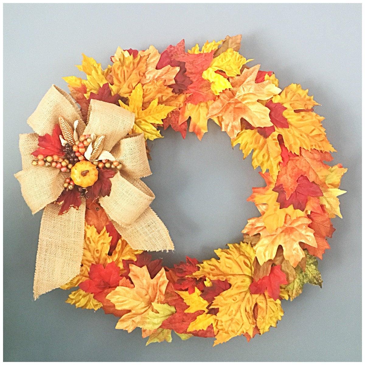 Fall Leaves Wreath. Front Door Wreath. Autumn Leaves. Fall Decor ...