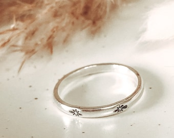 Sterling Silver Personalised Hand Stamped Stacking Ring | North Star Ring | Hand Stamped | Celestial Ring | Stacking Ring | Star Jewellery
