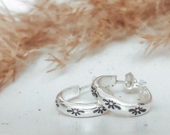 Sterling Silver Hand Stamped Polaris Star Huggie Earrings | North Star | Celestial Earrings | Hand Stamped Star Jewellery | Boho Earrings
