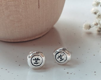 Sterling Silver Hand Stamped Mr Moon Pebble Earrings | Gifts For Her | Personalised Jewellery | Man in the Moon | Stud Earrings | Moon Face