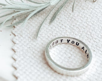 Sterling Silver Personalised Message Ring | Gifts For Her | Personalised Jewellery | Hand Stamped | Secret Message Ring | Wedding Ring