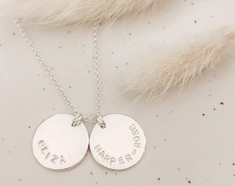 Sterling Silver Hand Stamped Duo Disc Personalised Necklace | Name Jewellery | Date Jewellery | Family Necklace | Personalised Jewellery |