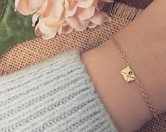 Hand Stamped Initial Mini Envelope Charm Bracelet - Available in Gold