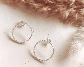 Sterling Silver Bobble Karma Circle Stud Earrings | Eternity | Women's Earrings | Friendship Gifts | Bridesmaids | Gifts for her | Wedding