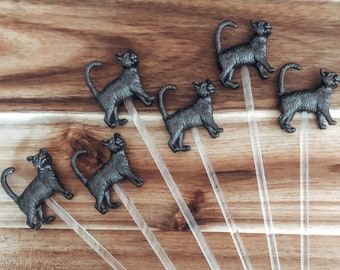 Metallic Coloured Halloween Black Cat Drink/Cocktail Stirrers | Spooky Decor | Halloween Party Decor | Witches Brew | Party Supplies