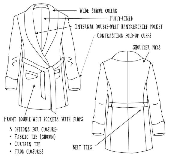 Smoking jacket sewing pattern PDF digital download bucks | Etsy