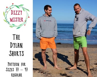 Men's shorts sewing pattern, mens shorts PDF pattern, menswear digital download