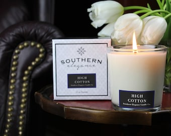 High Cotton: Fresh Linen ~ Soy Candle ~ scented candle ~ Tumbler Candles ~ Made in North Carolina ~ Fresh Linen mason jar
