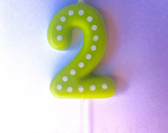 2nd Birthday Candles Number 2 Blue Green Ornange Red Yellow Second Candle Two Boy Girl Polka Dots