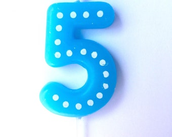 Number 5 Birthday Candles 50 Numbers Blue Green Orange Red Yellow Fifth Five Boy Girl Polka Dots