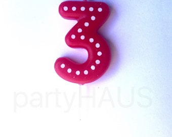 Number 3 Birthday Candles Numbers Blue Green Ornange Red Yellow Third Three Boy Girl Polka Dots
