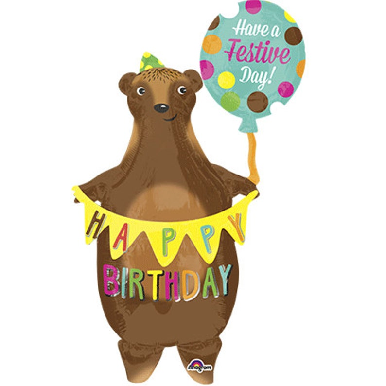 Bear Birthday Balloon Happy Woodland Animal