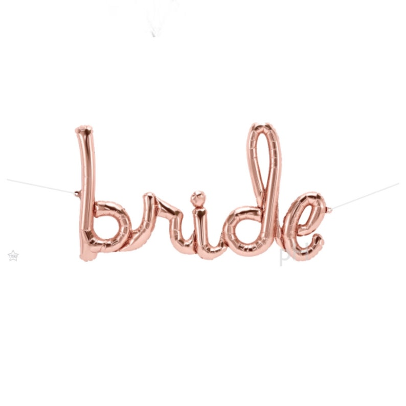 Rose Gold \u201cBRIDE\u201d Balloon Script Banner Balloon Rose Gold String included Wedding Bridal Engagement Anniversary Air Fill only