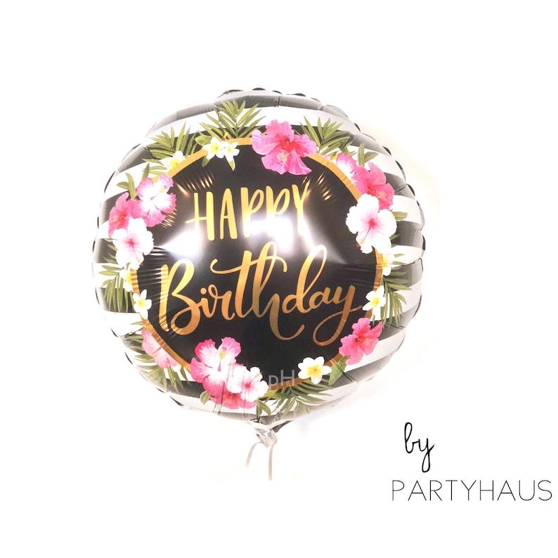 Hibiscus Balloons 18 Happy Birthday Flower