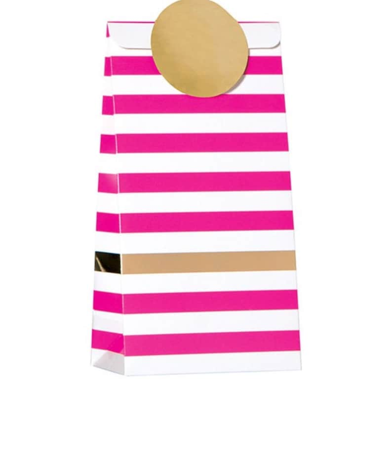 Shower Treat Bags Treat Bags Gift Bag Wedding Pkg 6 Magenta Pink and White Stripe Bag with Gold Metallic Accent Bags Party Bags