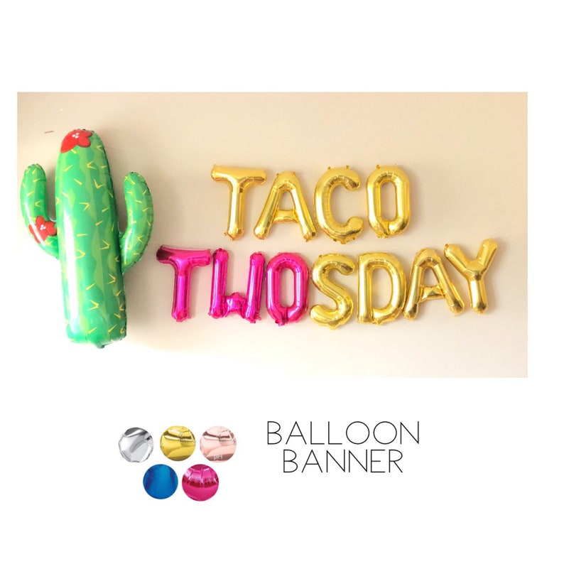 Second Birthday Party Photo Shoot Booth Decoration Pink TACO TWOSDAY Balloons 2 Rose Gold Number Two Blue Silver Pink Cactus Gold