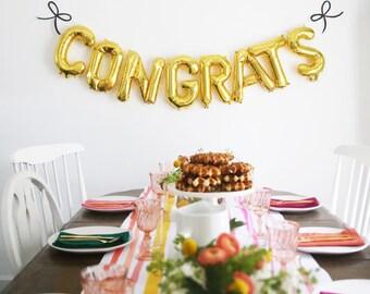 CONGRATS Balloons, Rose Gold, Gold, Silver, Pink, Congrats Banner Balloons, letter balloons, Confrats, balloons, Graduation Prom Balloons