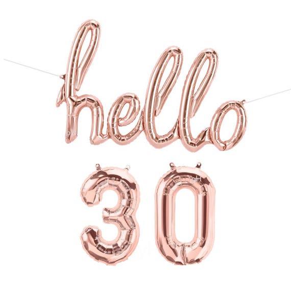 Hello 30 Balloons Small 13 5 30th Birthday Banner Etsy
