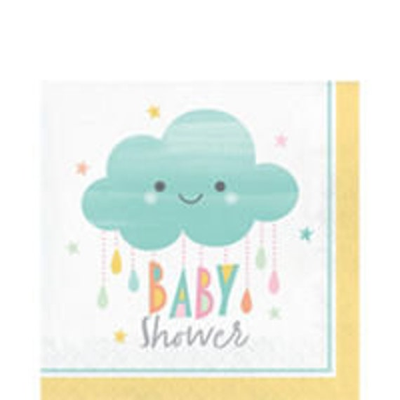 Cloud Baby Shower Napkins Paper Partyware Beverage Napkins Etsy