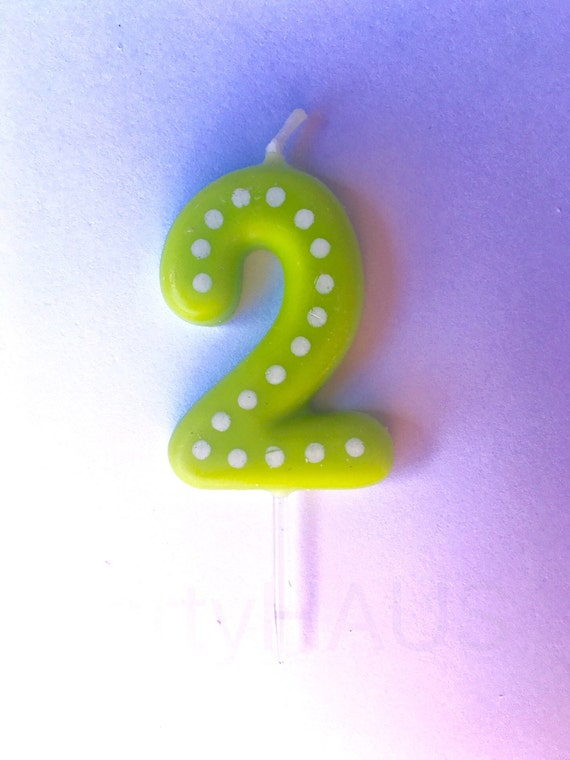2nd Birthday Candles Number 2 Blue Green Ornange Red