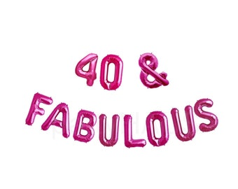 "40 & FABULOUS, 16"", 40TH Birthday Banner Balloons, Gold, Silver, Pink, Rose Gold birthday party decoration, Party, 40"