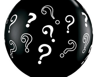 Question Mark Balloon, Black, 36 Inch, Black Onyx, Confetti Balloon, Latex Balloon, Over the Hill, Gender Reveal Party, 60th, Decor