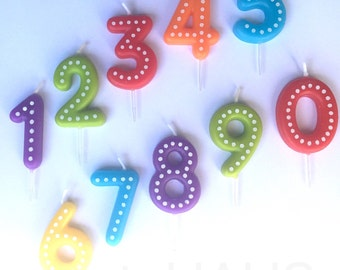 Number Birthday Candles, Numbers, Blue, Green, Ornange, Red, Yellow, First Birthday Candle, One, Candles, Boy, Girl, Birthday, Polka Dots