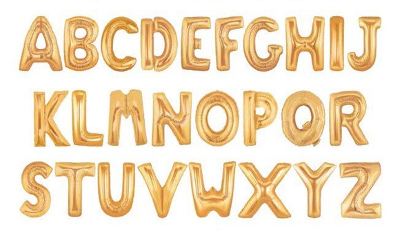 Gold Letter Balloons Small 13.5 IN or Large 34 IN Tall Symbol Balloons Hashtag Ampersand Numbers Alphabet