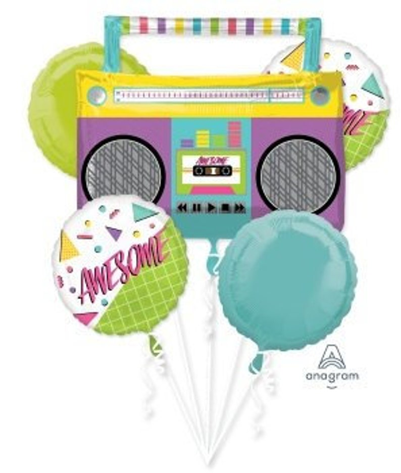 80's Party, Awesome, Birthday Party, Foil Balloon, 1980's, Boombox Balloon,  Mix, Bouquet, Rapper Party, Hip Hop, Neon, Ghetto Blaster, Music