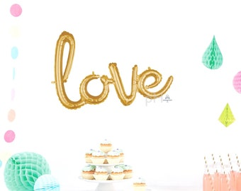 Gold Love Script Balloons, Gold, Silver Balloon Banner, Hello Baby, Baby Shower Balloons