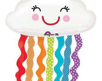"Cloud Balloons, 30"", Rainbow, Cloud, balloon, White Cloud, Foil, Balloons, Baby Shower, Birthday Party, Rainbow, Decor"
