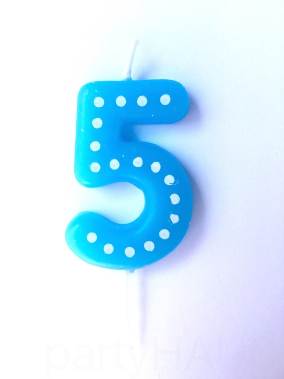Number 5 Birthday Candles 50 Numbers Blue Green