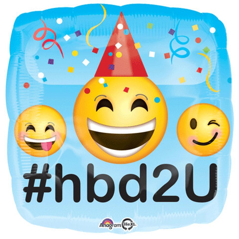 Love I Heart You Emoji Photo Booth #HB2U Instagram Emoji Balloons Smiley LOL Wink Sunglasses Emoticon Happy Birthday Balloons 18