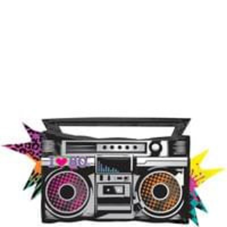 Totally 80's Party, Birthday Party, Foil Balloons, 1980's, Boombox Balloon,  Mix, Bouquet, Rapper Party, Hip Hop, Neon, Ghetto Blaster, Music