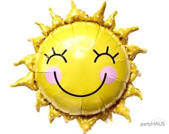 "Sun Balloons, 28"", Smiley Sun balloon, Sunshine balloon, White Cloud, Foil, Balloons, Baby Shower, Birthday Party, Rainbow, Decor"
