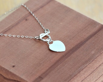 toggle clasp choker in Sterling Silver - toggle clasp heart necklace - toggle clasp necklace - Heart Jewelry - toggle necklace silver- Heart