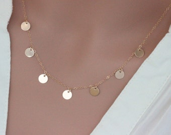 Gold disc necklace, Small gold coin necklace, 14k gold fill Sterling Silver Disc Neckalce - Celebrity Inspired Necklace -Coins Drop Necklace