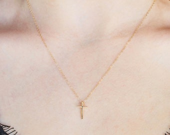 Gold cross necklace - Solid 14k Gold Cross necklace womens - Mini Solid  Real Gold Crosswith skinny cable chain - 14k Gold Cross Necklace 691a82f74a