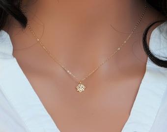 Lotus Necklace \u2022 Girlfriend Gift \u2022 Layering Jewelry \u2022 14k Gold Necklace \u2022 Solid gold Lotus \u2022 Simple Everyday Jewelry \u2022 unique gift for mom