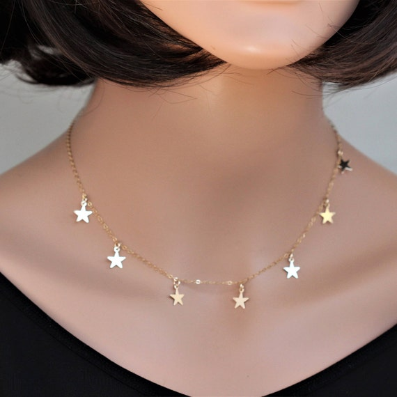 Delicate Silver Star Necklace Dainty Star Choker Silver Star Layering Necklace Sterling Silver Star Choker Necklace Drop Star Necklace