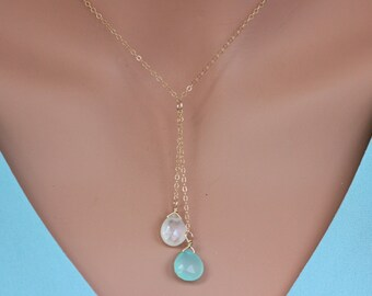 Gemstone Y-necklace, layering necklace, gold y-necklace, lariat necklace,Gemstone Dangle Necklace, Moonstone mint green  chalcedony Necklace