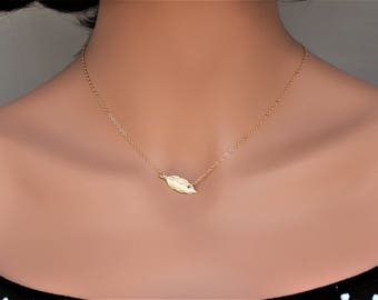 Lucky feather necklace - Gold Feather Necklace - Feather jewelry - Sideways Feather Necklace - Layered necklace - FeatherChokers gold 14k -