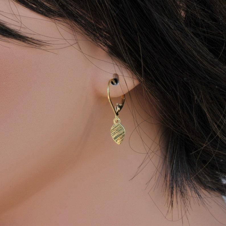 Unique Birthday Gifts for Her Tiny Dainty Leaf Earrings14k Gold Fill \u2022 Dangle Earrings Handmade Jewelry for Women Gold Leaf Earrings