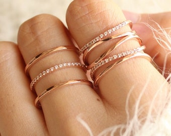 Ring Set of 2 Stacked Rose Gold Rings Stacking Ring Set Stackable Rings Set Rose Gold Ring Set Adjustable Unique Rings Gift For Her Jewelry