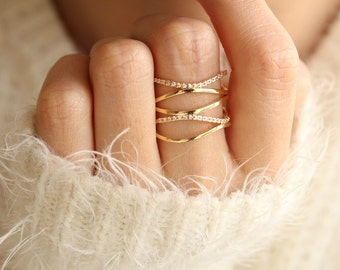 Stacked Gold Ring Stacking Gold Ring Adjustable Ring Wrap Around Ring Delicate Jewelry Gift for Girlfriend Stackable Rings