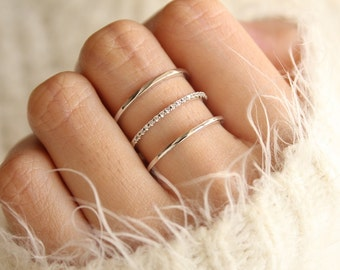 Silver Stacking Ring, Simple Silver Ring, Gift for Her, Silver Ring Boho, Stacked Silver Ring, Dainty Silver Ring, Plain Silver Ring